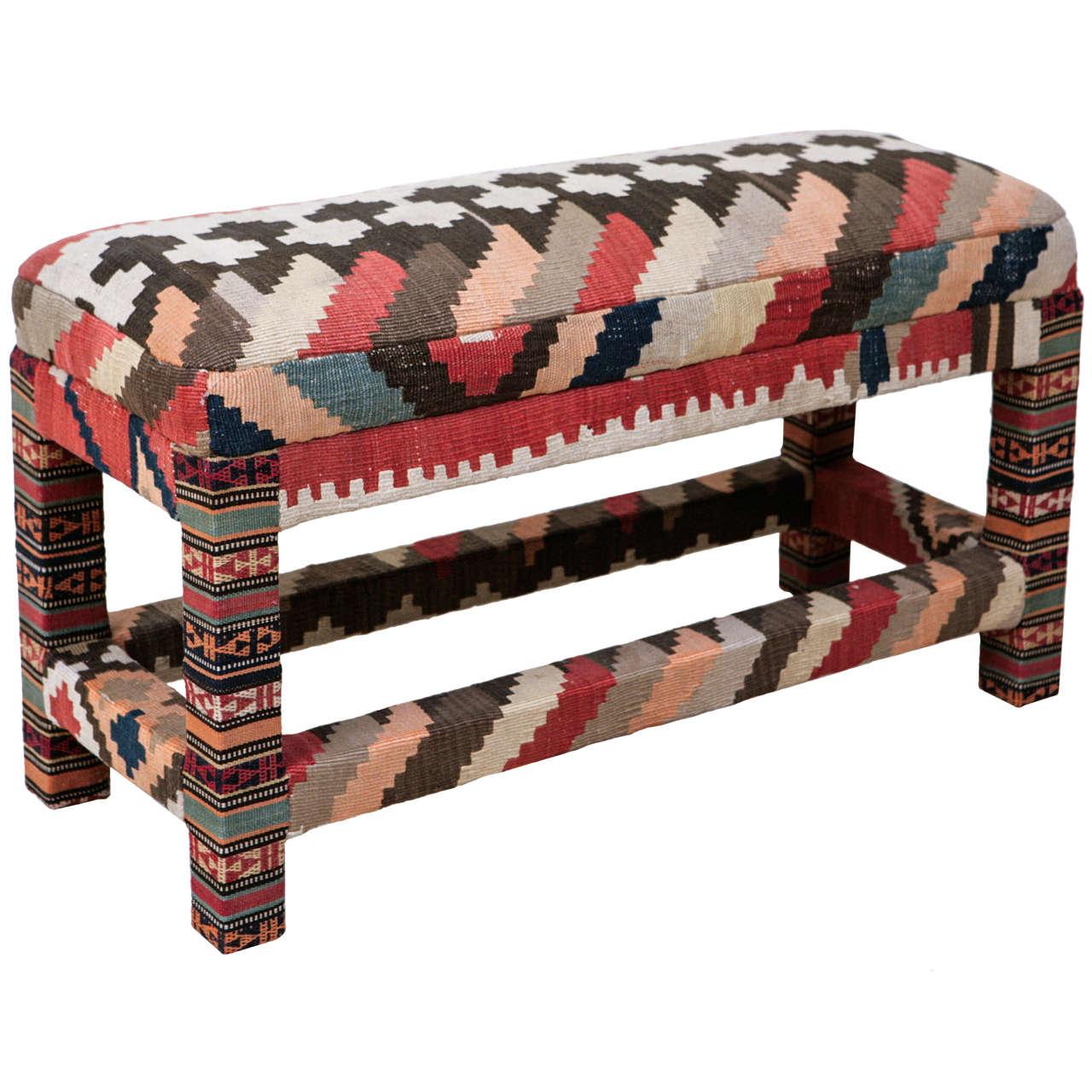 Kilim Upholstered Bench At 1stdibs