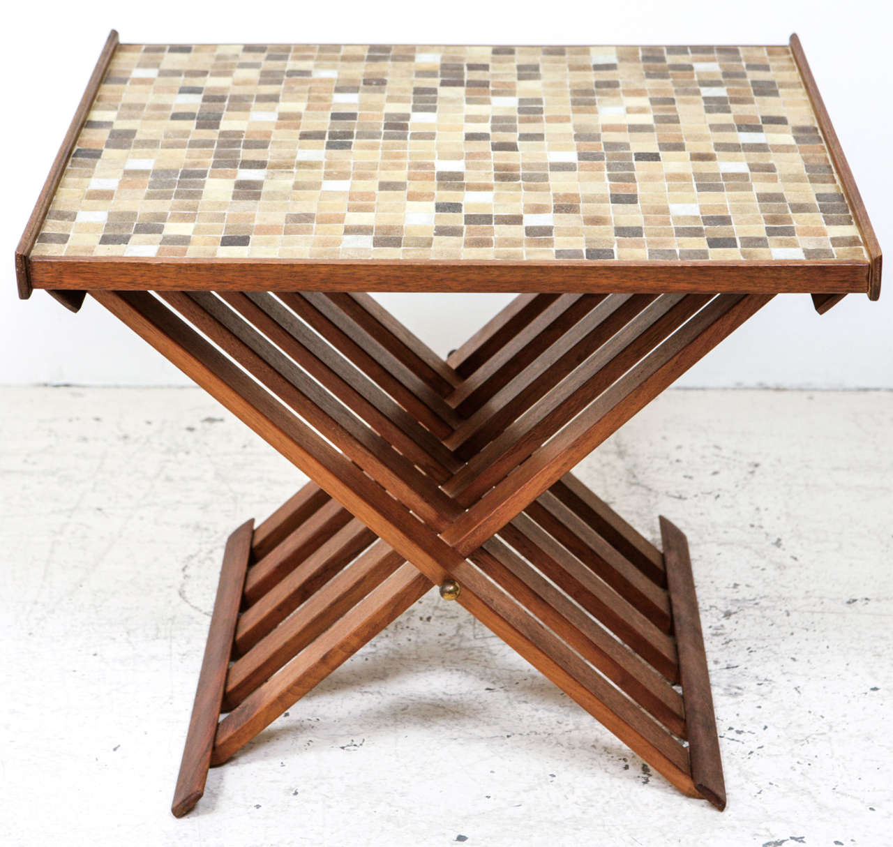 glass tile topped folding side table at 1stdibs. Black Bedroom Furniture Sets. Home Design Ideas