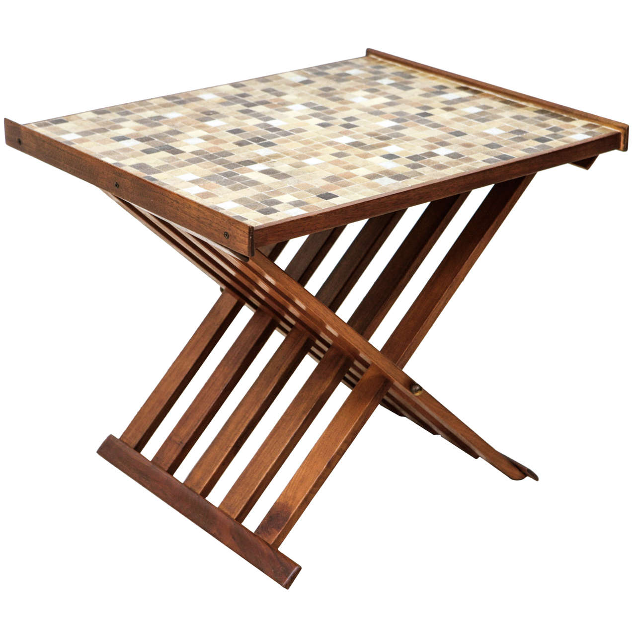 Folding Side Table : Glass Tile-Topped Folding Side Table at 1stdibs