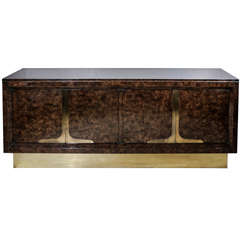 Mastercraft Burled Wood & Brass Sideboard/Dresser