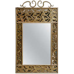 Solid Brass Mirror with Leaf Motif
