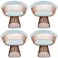 Set of 4 Vintage Bronze Chairs by Warren Platner for Knoll