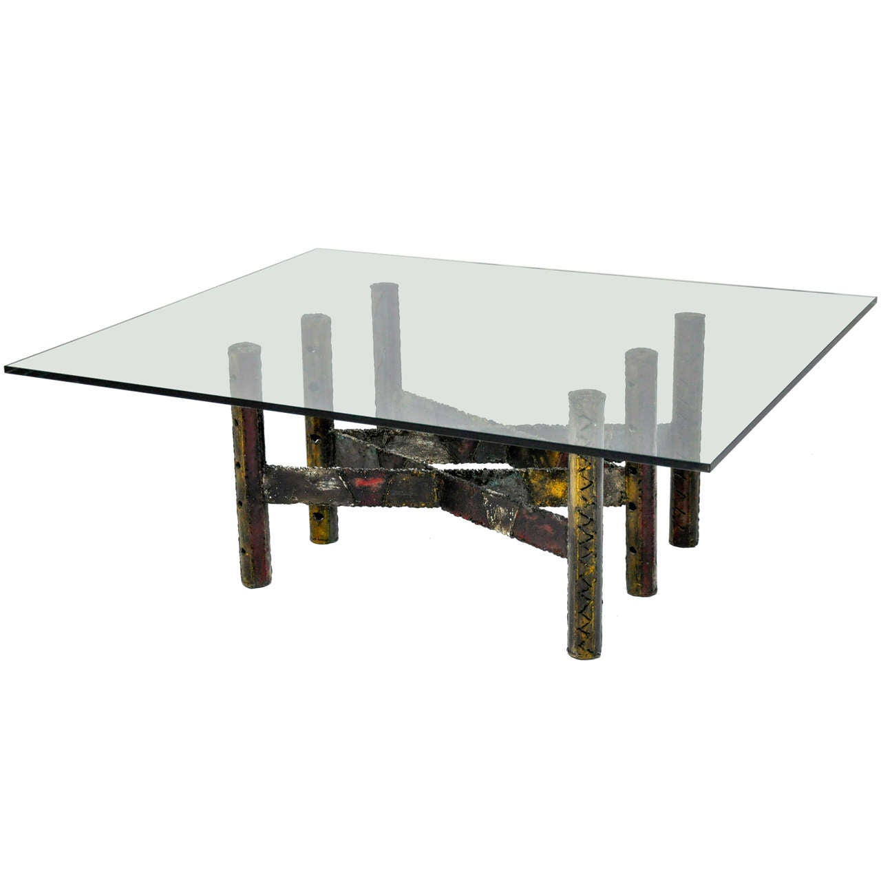 Paul Evans Welded Steel And Glass Coffee Cocktail Table At Stdibs - Welded coffee table