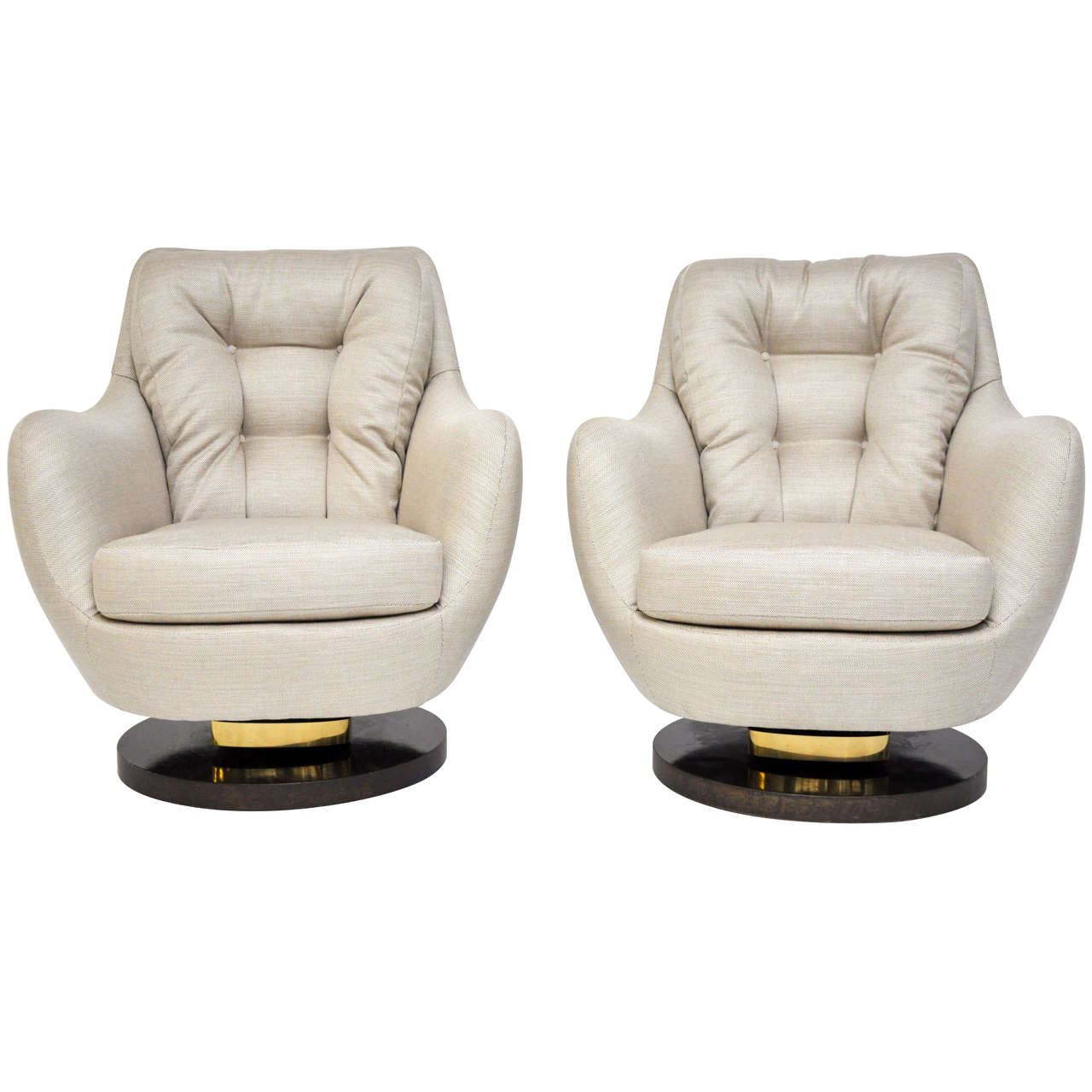 Milo Baughman Rock And Swivel Lounge Chairs At 1stdibs