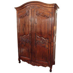 19th Century Louis XV Style Walnut Armoire