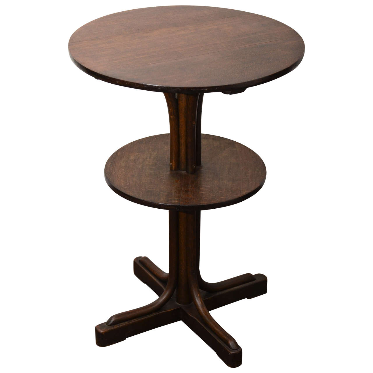 60 Mid Century Modern Vintage Half Moon Coffee Table: Two-Tiered Round Wooden Side Table In The Style Of Thonet