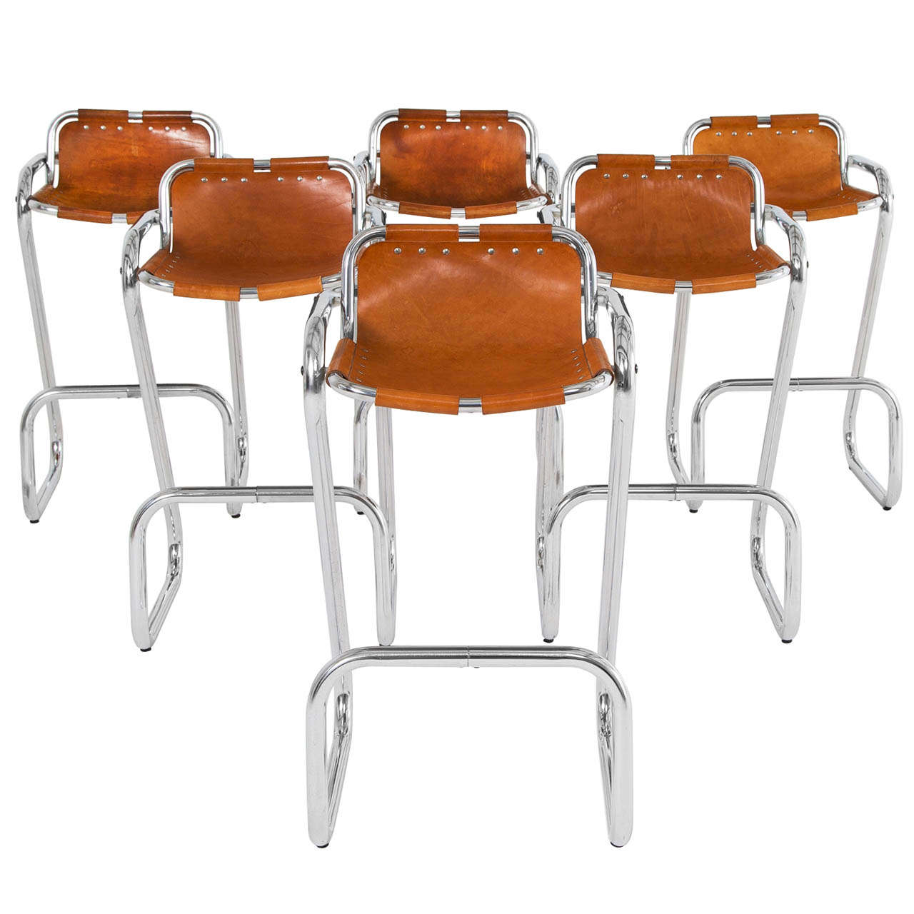 Wholesale Interiors Cognac Dark Brown Leather Bar Stool: Set Of Six Bar Stools In Cognac Leather At 1stdibs