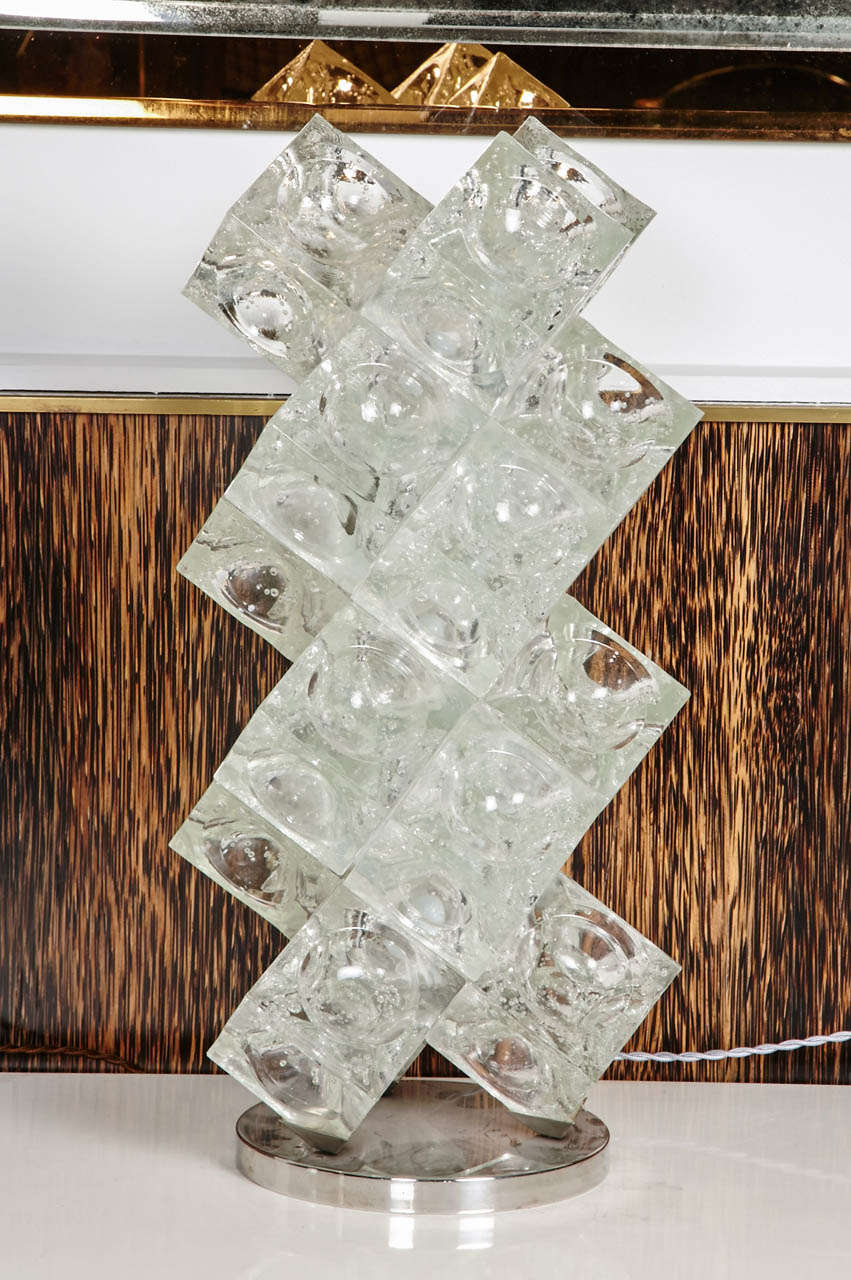 Original Ice Cube Table Lamp In The Style Of Mazzega, 1970u0027s 2