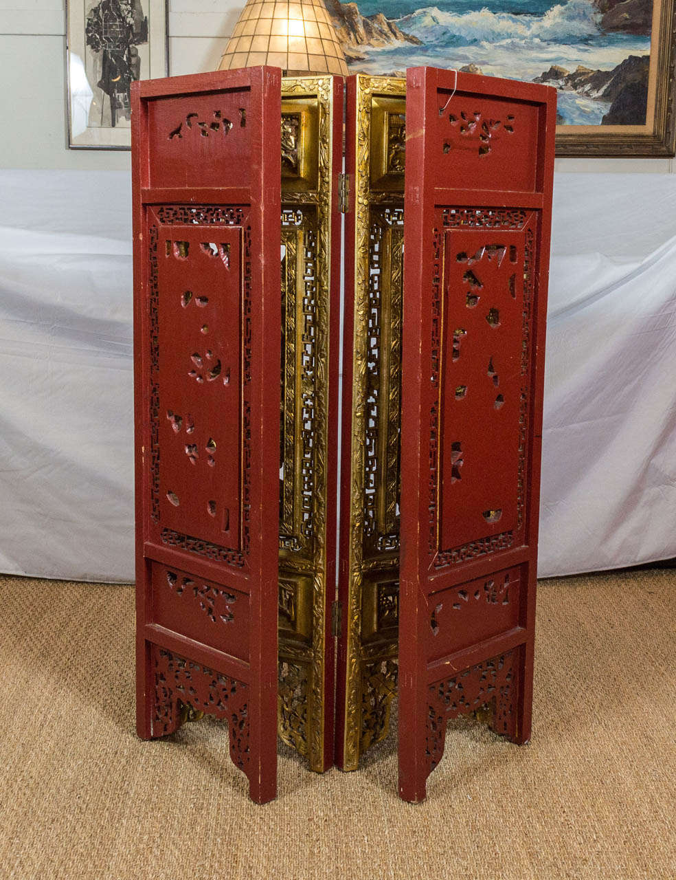 19th century chinese gilded hand carved asian screen at for Hand carved asian furniture