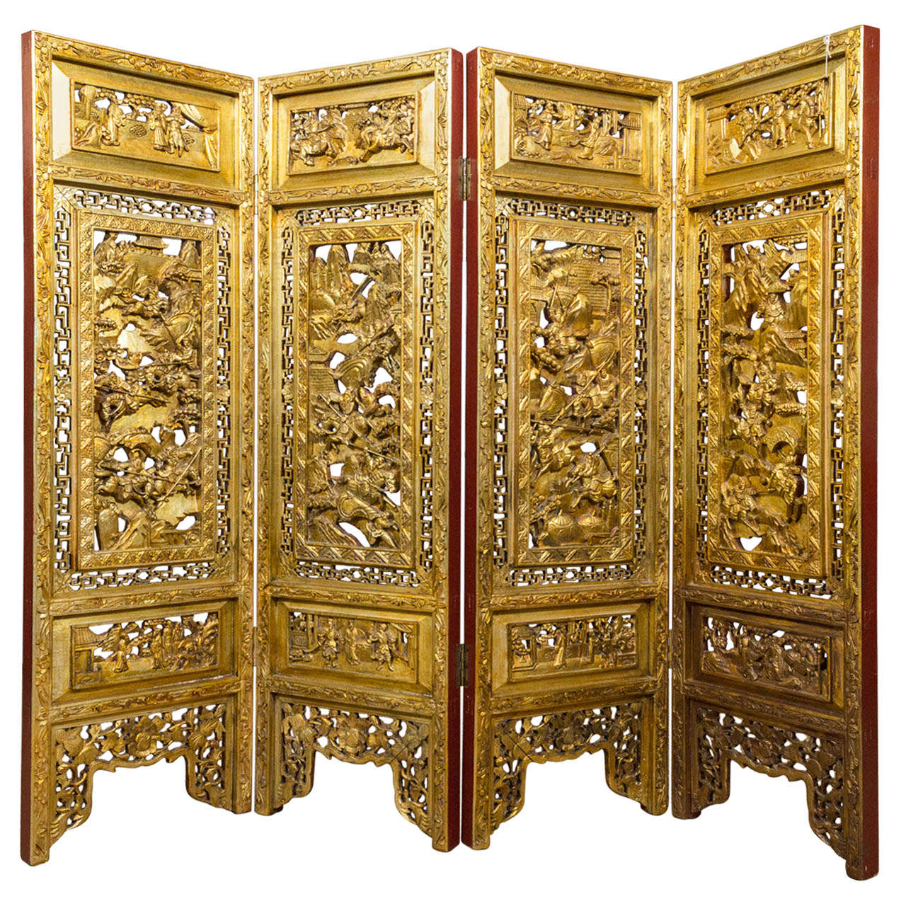 19th Century Chinese Gilded Hand Carved Asian Screen At