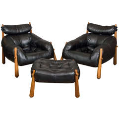 Pair of Black Leather and Rosewood Lounge Chairs with Ottoman by Percival Lafer