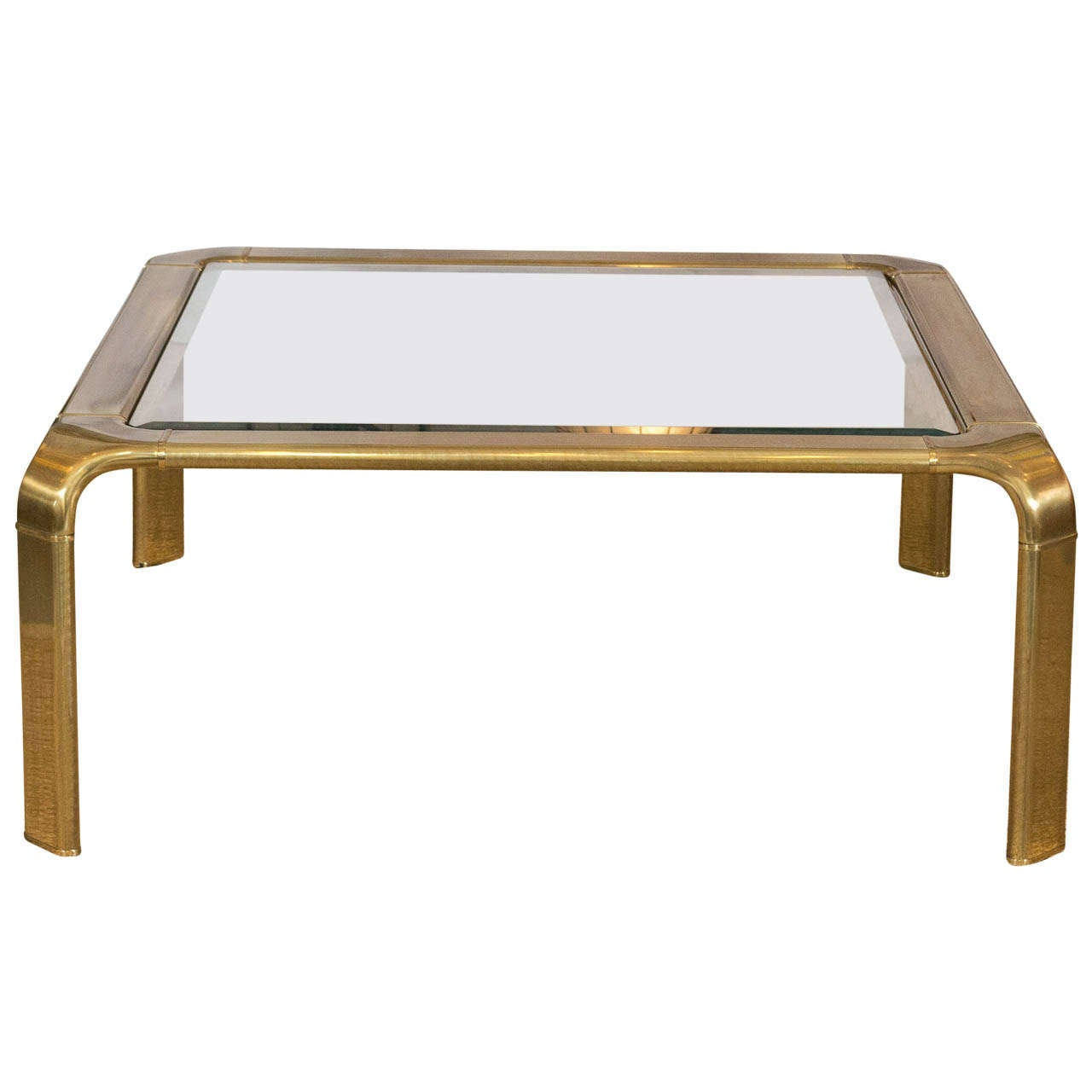 Sensuous 1970u0027s Brass Coffee Table By Mastercraft For Sale