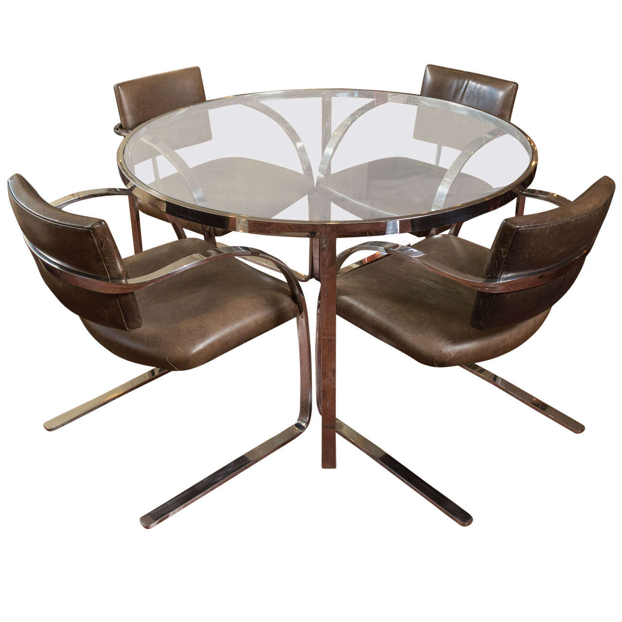 mark mascheroni for brueton stainless steel dining set at