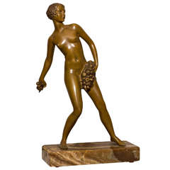 Art Deco Bronze Figure of a Nude Young Girl
