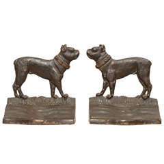 Pair of Bradley and Hubbard Cast Iron Bookends Boston Terriers