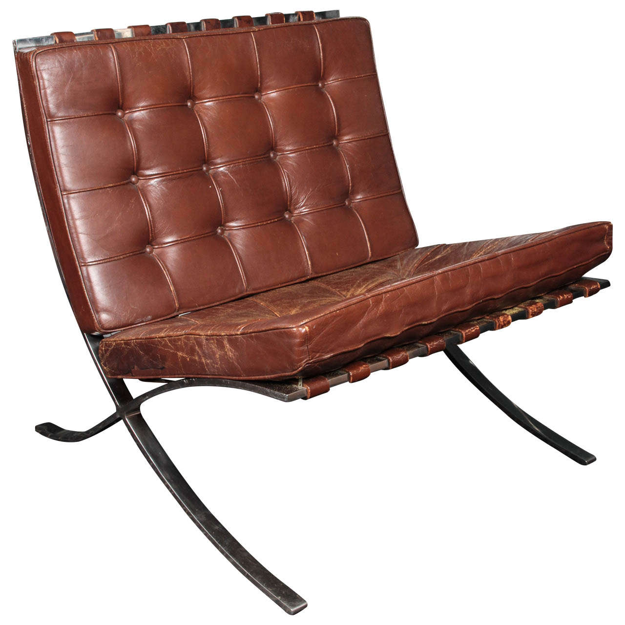 brown leather barcelona chair by ludwig mies van der rohe for knoll at 1stdibs. Black Bedroom Furniture Sets. Home Design Ideas