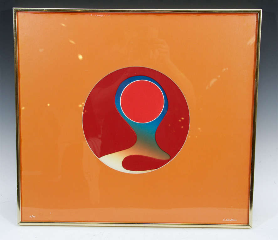 """An abstract color relief print by Carolyn Carlson. The piece, titled """"inner Orb"""" depicts a series of circular forms on a square orange plane.  4208"""
