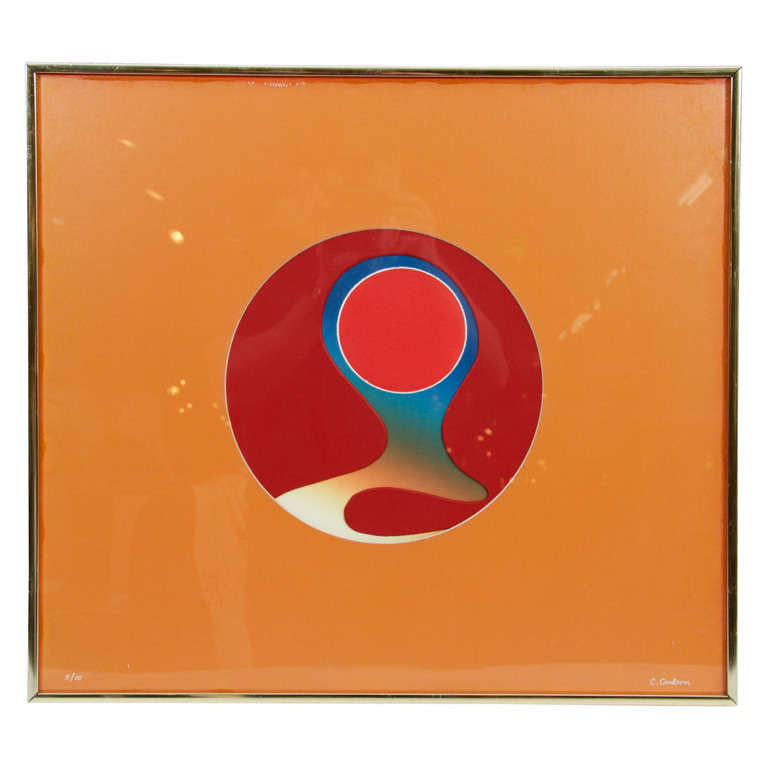 """Abstract Color Relief Titled """"Inner Orb"""" by Carolyn Carlson For Sale"""