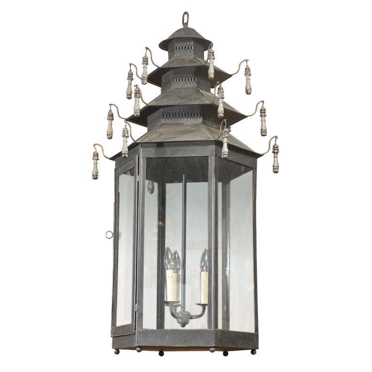 Hexagonal Three-Light Grey Painted Tole Lantern with Custom Tassels