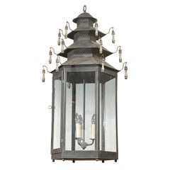 Hexagonal Three-Light Black Painted Tole Lantern with Custom Tassels