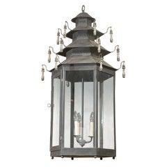 Hexagonal Three-Light Black Painted Tole Lantern with Custom Tassels