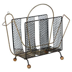 1950s Metal Mesh and Brass Abstract Bird Magazine Stand