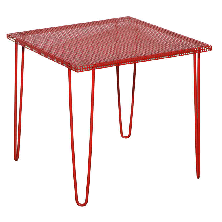 Mathieu Matégot Style Perforated Red Iron Occasional Table, 1950's