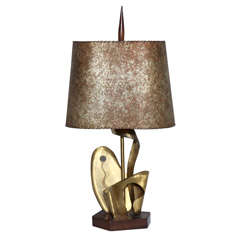 1930's Yasha Heifetz Abstract Botanical Brass Table Lamp with Parchment Shade