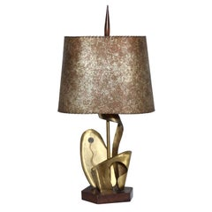 Yasha Heifetz Abstract Botanical Brass Table Lamp with Parchment Shade, 1930's