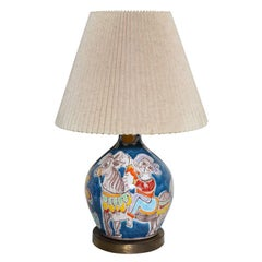 DeSimone Blue Ceramic Table Lamp Hand-Painted With Horse, Girl & Flower, 1960s