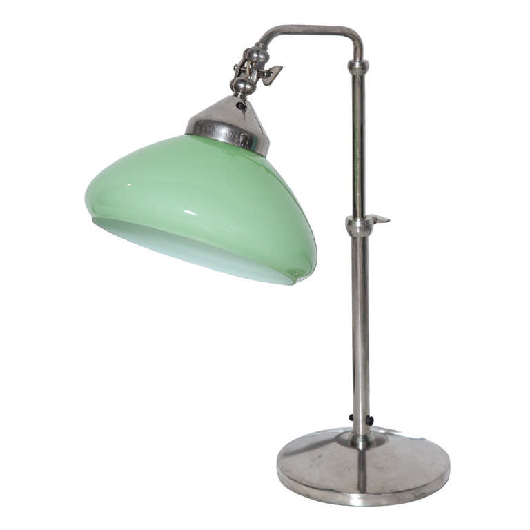 1940s Adjustable Italian Desk Lamp in Nickel with Pale Green Cased Glass Shade