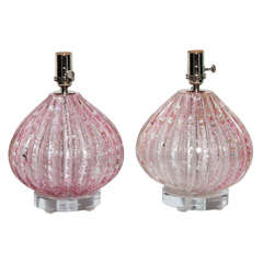 Pair of Barovier e Toso Pink Murano Table Lamps with Silver Inclusions, 1950s