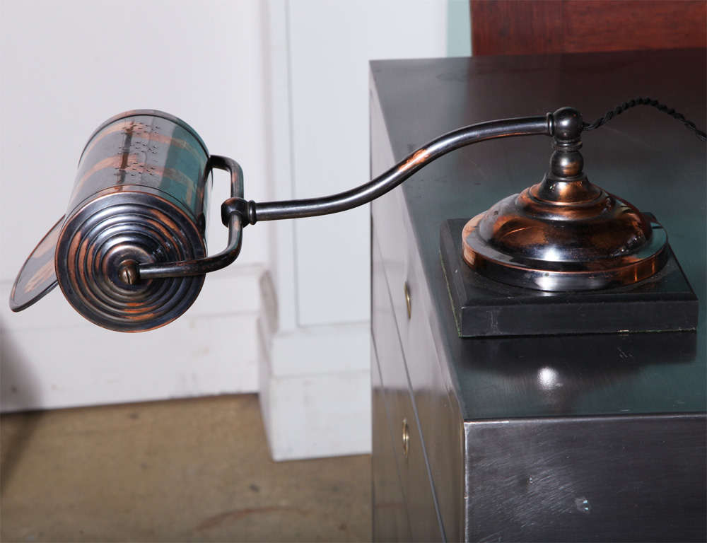 Circa 1920 Japanned Copper Finish and Black Slate Library Lamp ...