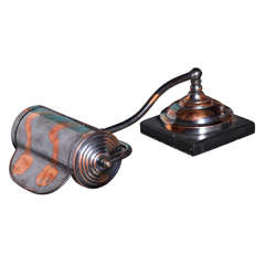 Faries Mtg. Japanned Copper Finish and Black Slate Piano Lamp, Rolltop Desk Lamp