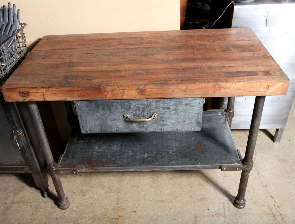 vintage industrial kitchen work table at 1stdibs. Black Bedroom Furniture Sets. Home Design Ideas