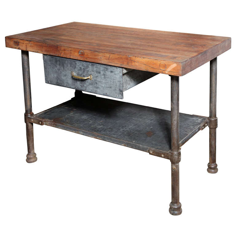 Vintage industrial kitchen work table at 1stdibs - Industrial kitchen tables ...