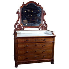 French mahogany dressing vanity with mirror, c. 1880