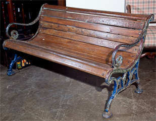 Cast iron and teak garden bench, c. 1900 image 2
