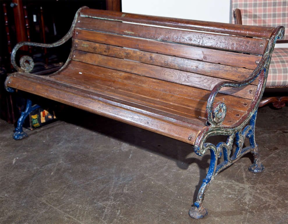 Cast Iron And Teak Garden Bench, C. 1900, With Several Layers Of Old