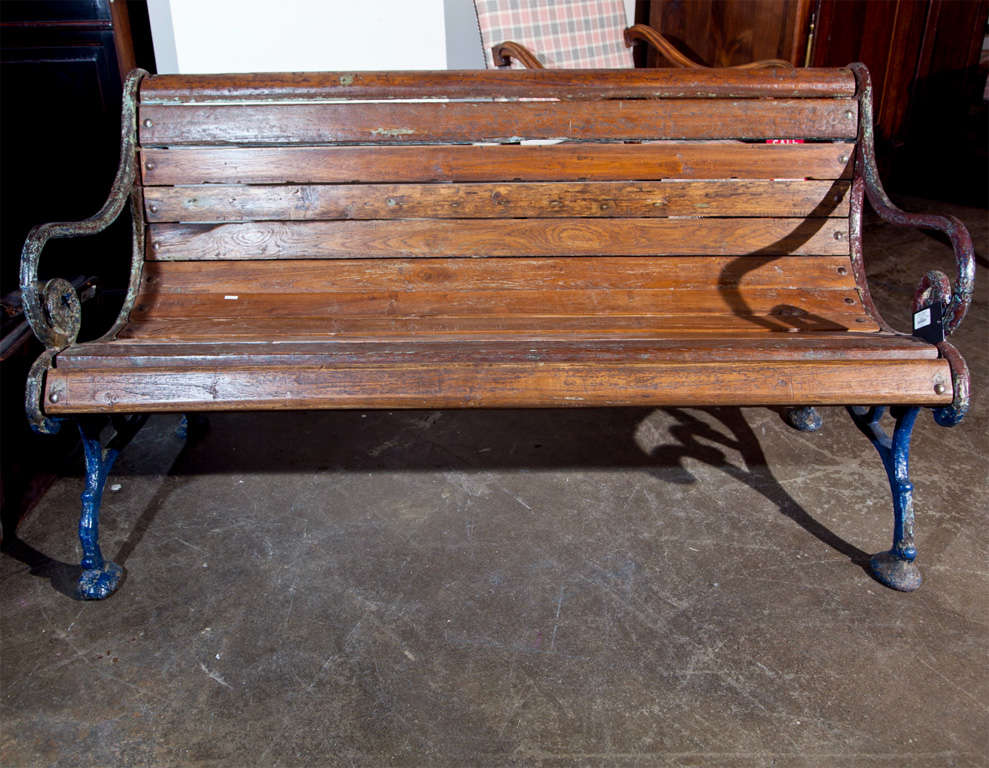 Cast iron and teak garden bench, c. 1900 4