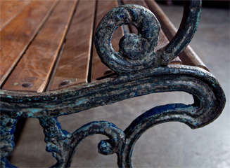 Cast iron and teak garden bench, c. 1900 image 8