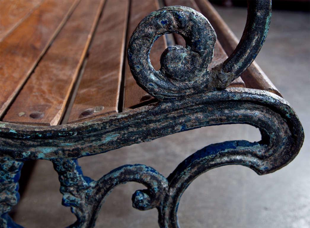 Cast iron and teak garden bench, c. 1900 8