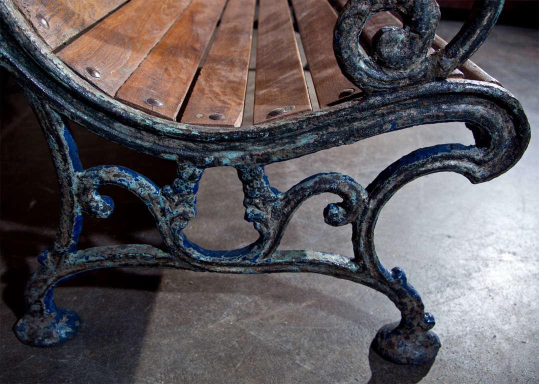 Cast iron and teak garden bench, c. 1900 9