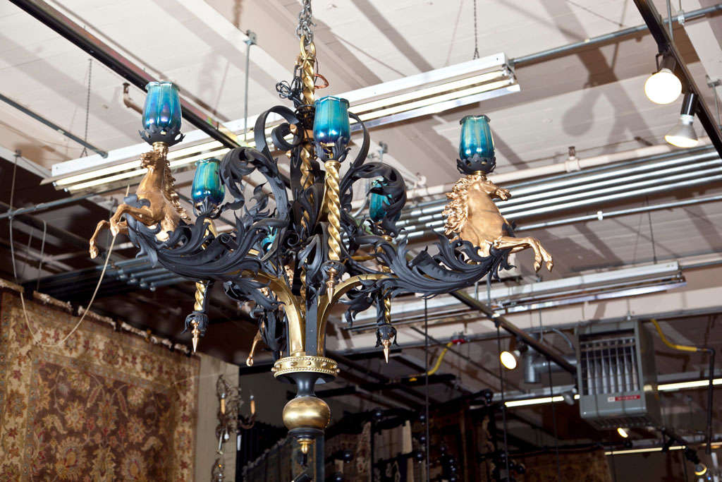 Antique Iron and Bronze Gold Gilded Horse Head Chandelier 2