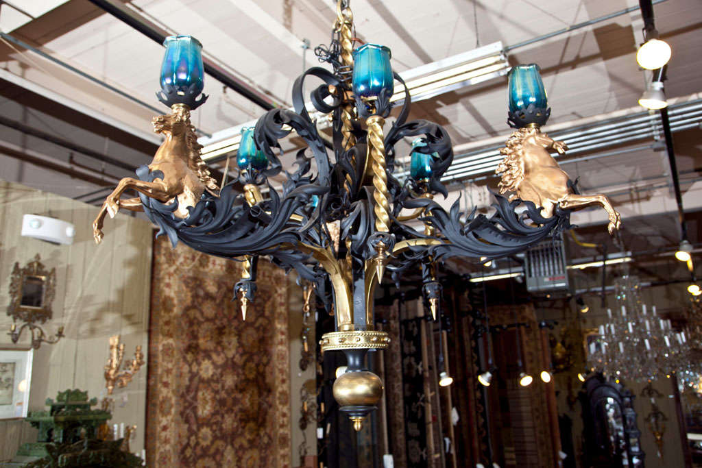 Antique Iron and Bronze Gold Gilded Horse Head Chandelier 3