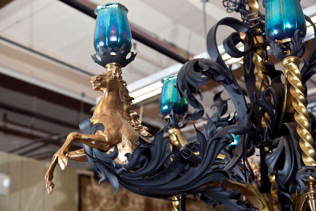 Antique Iron and Bronze Gold Gilded Horse Head Chandelier 5