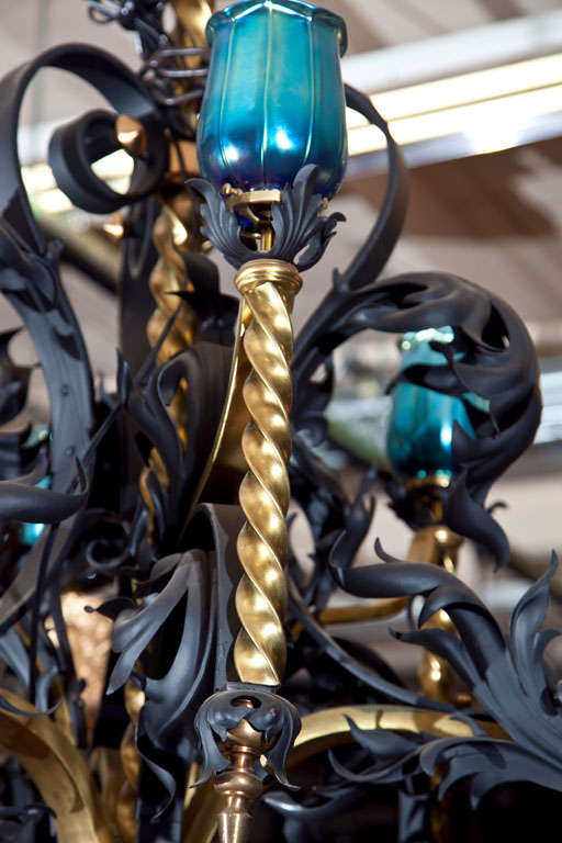 Antique Iron and Bronze Gold Gilded Horse Head Chandelier 6