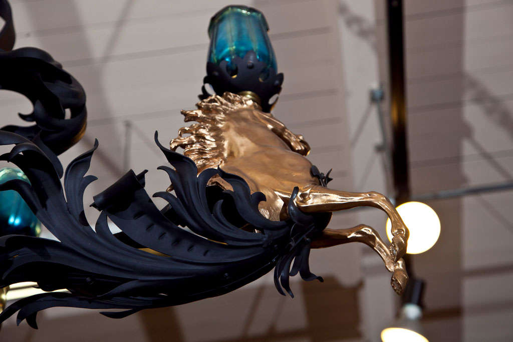 Antique Iron and Bronze Gold Gilded Horse Head Chandelier 8