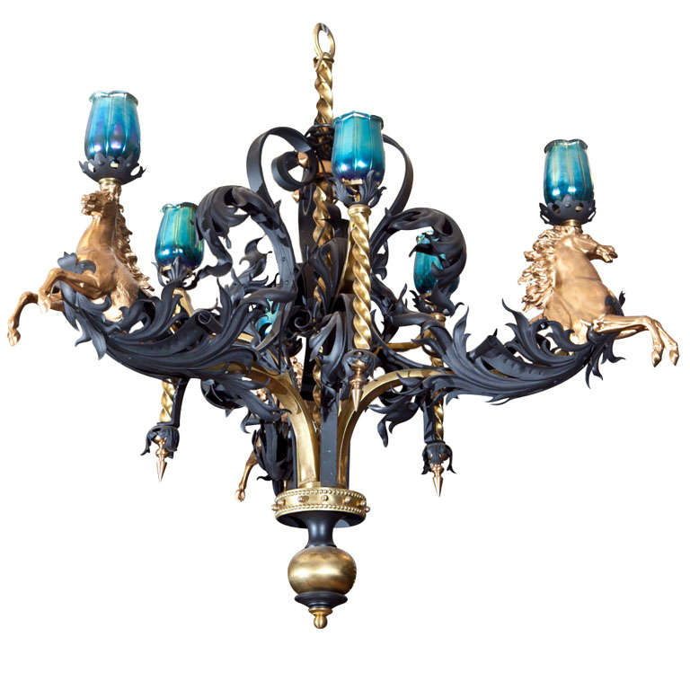 Antique Iron And Bronze Gold Gilded Horse Head Chandelier