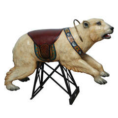 Very Rare Carved Carousel Polar Bear